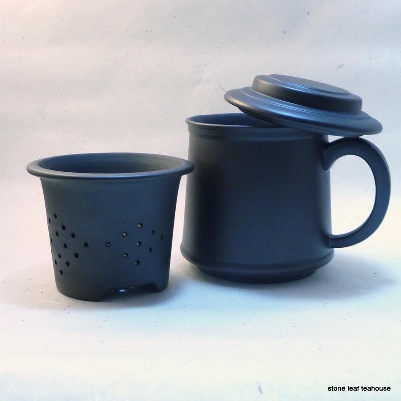 yixing tea mug and infuser 10 oz stone leaf teahouse. Black Bedroom Furniture Sets. Home Design Ideas
